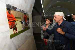 First Lady Nune Sarkissian tours 1st Armenian International Photo Festival exhibition at Eritasardakan Metro station
